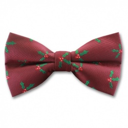 Burgundy Christmas Bow Tie With Holly